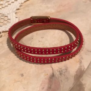Jewelry - Hot pink and gold leather wrap bracelet